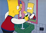 Bart Simpson primping in the mirror